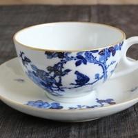 紅茶にも珈琲にも、薔薇と鳥の絵付けのカップ&ソーサーのサムネイル