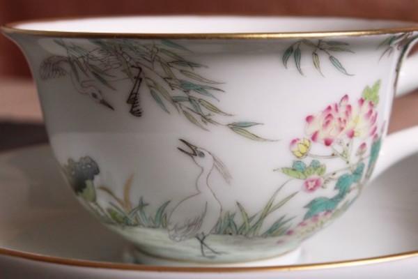 【景徳鎮の絵付け】一路栄華-白鷺と蓮、酔芙蓉