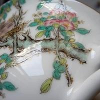 細密に描かれた鳥の巣と小鳥ー粉彩花鳥図C&Sのサムネイル