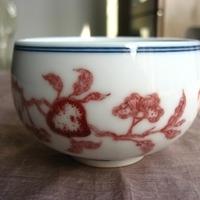 本釉裏紅仙桃図杯-希少な本物の釉裏紅のサムネイル