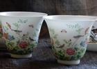 総手工本景徳鎮粉彩花鳥図杯の最後のペアをお買い上げいただきました。